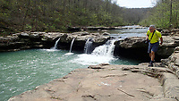 NWA Democrat-Gazette/FLIP PUTTHOFF <br /> Kings River Falls is the centerpiece of Kings River Falls Natural Area. The area takes in 1,059 acres and about 3 miles of the Kings River. Gene Williams hikes April 14 2017 in the falls area.