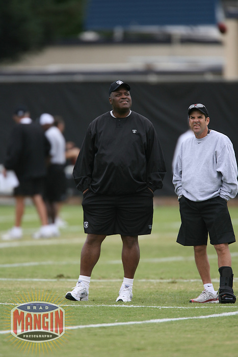 Raiders head coach Art Shell at Oakland Raiders training camp in Napa, CA on July 29, 2006. Photo by Brad Mangin.