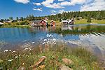 A beautiful summer day on a waterway in Fallesvikshamn near Nordingra on the Baltic coast.