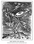 """Adolf Defying the Lightning. """"All the same I don't like it - it seems to come from all sides at once."""" (Hitler stands on a small rock of Europe and cowers behind his Nazi shield amid lightening from the West, North and East)"""