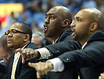 20 January 2016: Wake Forest head coach Danny Manning (center) and assistant Randolph Childress (right) try to direct traffic. The University of North Carolina Tar Heels hosted the Wake Forest University Demon Deacons at the Dean E. Smith Center in Chapel Hill, North Carolina in a 2015-16 NCAA Division I Men's Basketball game. UNC won the game 83-68.