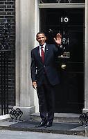 US presidential hopeful Senator Barack Obama leaves No10 Downing Street after talks with Prime Minister Gordon Brown.