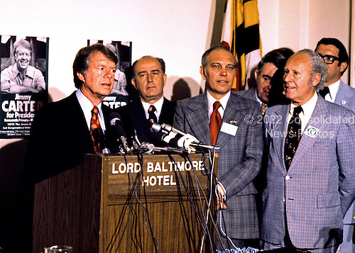 Governor Jimmy Carter (Democrat of Georgia) a candidate for the 1976 Democratic nomination for President of the United States, makes a campaign appearance in Baltimore, Maryland on May 13, 1976.  From left to right:  Mayor William Donald Schaefer (Democrat of Baltimore); Secretary of State Fred L. Wineland (Democrat of Maryland); and Comptroller Louis L. Goldstein (Democrat of Maryland).<br /> Credit: Arnie Sachs / CNP
