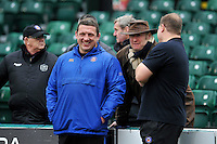 Bath Rugby first team coaches Toby Booth and Neal Hatley have a chat with supporters during the pre-match warm-up. Aviva Premiership match, between Bath Rugby and Wasps on February 20, 2016 at the Recreation Ground in Bath, England. Photo by: Patrick Khachfe / Onside Images