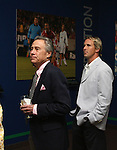 27 August 2006: MLS investor and 2006 inductee Philip Anschutz (l) with Chris Henderson (r), a current MLS player and Anschutz' presenter explore a new exhibit commemorating the first then years of Major League Soccer. The President's Reception and Dinner were held at the National Soccer Hall of Fame in Oneonta, New York the evening before the 2006 Induction Ceremony.