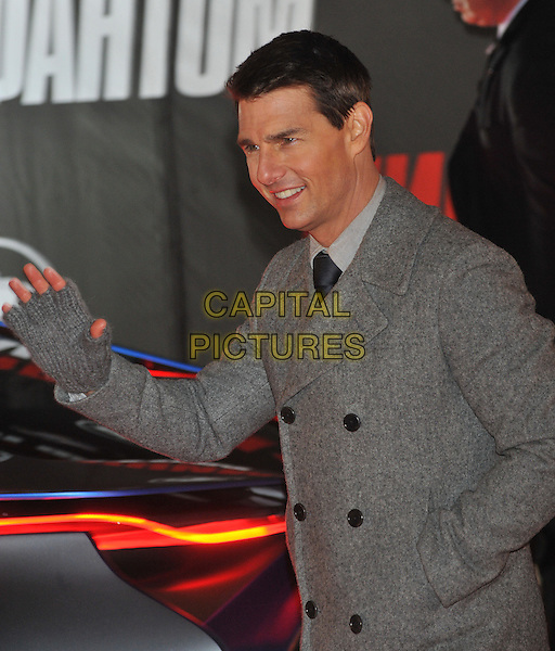 "Tom Cruise.""Mission: Impossible - Ghost Protocol"" premiere, Moscow, Russia..December 8th, 2011.4 MI4 half length jacket coat grey gray hand waving fingerless gloves .CAP/PER/GU.©GU/PersonaStars/Capital Pictures."