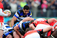 Taulupe Faletau of Bath Rugby in action at a scrum. Aviva Premiership match, between Bath Rugby and Saracens on December 3, 2016 at the Recreation Ground in Bath, England. Photo by: Patrick Khachfe / Onside Images