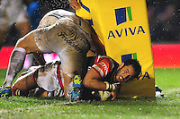 Maxime Mermoz of Leicester Tigers scores a try in the second half. Aviva Premiership match, between Leicester Tigers and Exeter Chiefs on March 3, 2017 at Welford Road in Leicester, England. Photo by: Patrick Khachfe / JMP
