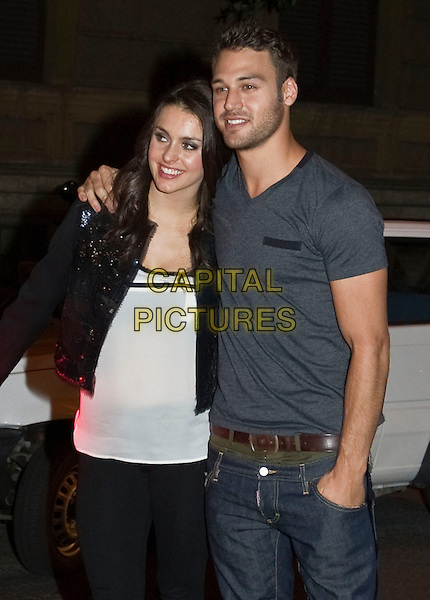 Kathryn McCormick & Ryan Guzman .Preview for the film 'Step Up 4: Miami Heat' in 3D, Rome, Italy..September 27th, 2012.half length white top black jacket grey gray t-shirt arm over shoulder stubble facial hair .CAP/IPP/FC.©FC/IPP/Capital Pictures.
