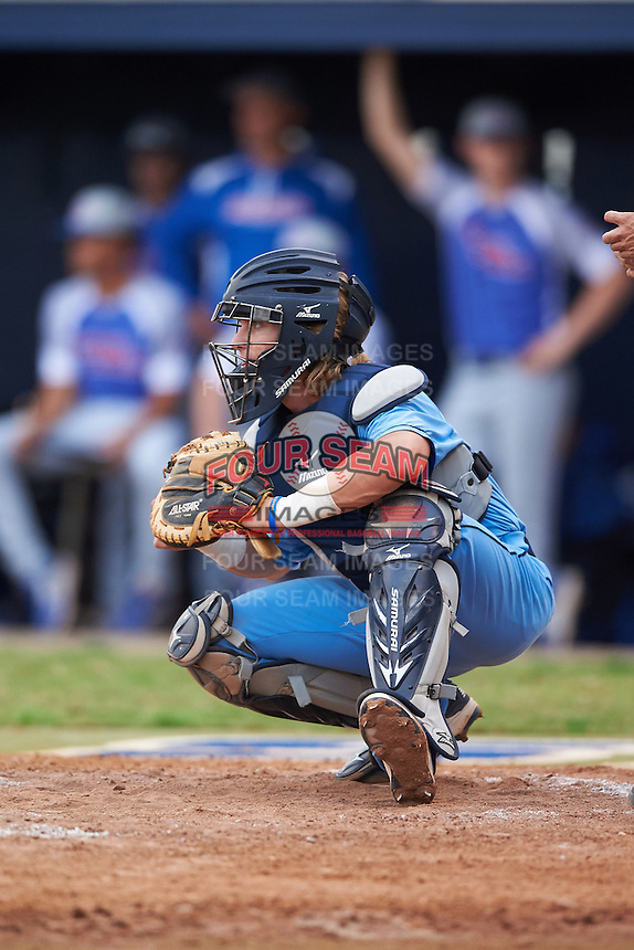 SCF Manatees catcher Reilly Johnson (19) during a game against the College of Central Florida Patriots on February 8, 2017 at Robert C. Wynn Field in Bradenton, Florida.  SCF defeated Central Florida 6-5 in eleven innings.  (Mike Janes/Four Seam Images)