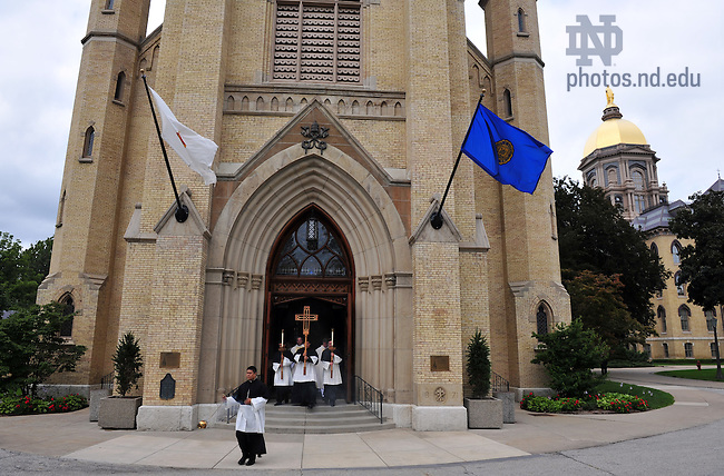 Priests exit the Basilica of the Sacred Heart after final vows ceremony, 2009...Photo by Matt Cashore/University of Notre Dame