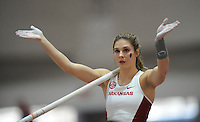 NWA Democrat-Gazette/ANDY SHUPE<br /> Arkansas sophomore Alexis Weeks competes in the pole vault Saturday, Feb. 11, 2017, during the Tyson Invitational in the Randal Tyson Track Center in Fayetteville. Visit nwadg.com/photos to see more photographs from the meet.
