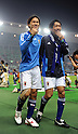 (L-R) Shinji Okazaki, Kengo Nakamura (JPN),.OCTOBER 11, 2011 - Football / Soccer :.Shinji Okazaki and Kengo Nakamura of Japan acknowledge fans after the 2014 FIFA World Cup Asian Qualifiers Third round Group C match between Japan 8-0 Tajikistan at Nagai Stadium in Osaka, Japan. (Photo by Takahisa Hirano/AFLO)