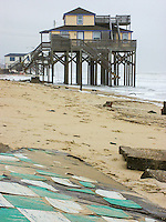 Storm damage beach house Kitty Hawk North Carolina.