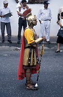 Man dressed as a Roman Gladiator during Semana Santa (Easter Holy Week) celebrations in old Santo Domingo, Dominican Republic