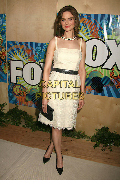 EMILY DESCHANEL.FOX 2007 Summer All-Star TCA Press Tour Party at Pacific Park on the Santa Monica Pier, Santa Monica, California, USA..July 23rd, 2007.full length dress lace shoes clutch purse cream black necklace .CAP/ADM/BP.©Byron Purvis/AdMedia/Capital Pictures