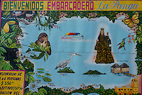 Tourist map of Laguna Catemaco, a large volcanic lake in the state of Veracruz, Mexico