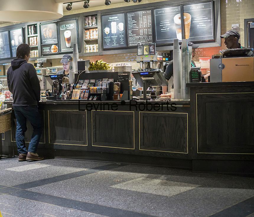 A Starbucks in Rockefeller Center in New York on Friday, February 5, 2016.  (© Richard B. Levine)