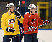 AJ Jenks (USA - 22), Danny Kristo (USA - 8) - Team USA practiced at the Agriplace rink on Monday, December 28, 2009, in Saskatoon, Saskatchewan, during the 2010 World Juniors tournament.