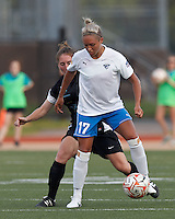 Boston Breakers forward Kyah Simon (17) controls the ball as New England Mutiny midfielder Jenny Maurer (27) pressures. In a Women's Premier Soccer League Elite (WPSL) match, the Boston Breakers defeated New England Mutiny, 4-2, at Dilboy Stadium on June 20, 2012.