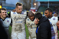 Beno Obano of Bath Rugby is singled out for praise by Head Coach Mike Ford in the post-match huddle. Aviva Premiership match, between Worcester Warriors and Bath Rugby on February 13, 2016 at Sixways Stadium in Worcester, England. Photo by: Patrick Khachfe / Onside Images