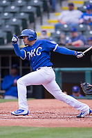 Jair Jurrjens (15) of the Oklahoma City Dodgers after hitting a pitch during a game against the Iowa Cubs at Chickasaw Bricktown Ballpark on April 9, 2016 in Oklahoma City, Oklahoma.  Oklahoma City defeated Iowa 12-1 (William Purnell/Four Seam Images)