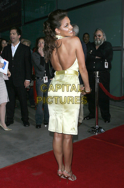 "LEILA ARCIERI.The Los Angeles Premiere of ""King's Ransom"" held at the Arclight Theatre, Hollywood, CA.April 21st, 2005.Photo Credit: Jacqui Wong/AdMedia.full length lime green silk satin sleeveless dress backless looking over shoulder.www.capitalpictures.com.sales@capitalpictures.com.© Capital Pictures."