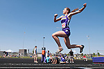 Lewiston sophomore Megan Ralston competes in the triple jump during the 5A Idaho Track and Field Championships on May 18, 2012 at Rocky Mountain High School, Meridian, Idaho. Ralston finished fourth with a jump of 35-11.50.