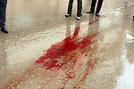 SULAIMANIYAH, IRAQ:  Blood remains on the wet streets after a protester was shot...Tension continues to grow in the semi-autonomous region of Iraqi Kurdistan as protesters clash with police on a 5th day of unrest...Photo by Haedar Omar