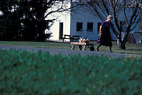 Young amish woman pulls little red wagon along country road. Lancaster, PA.