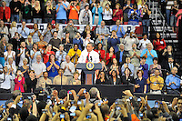 President Barack Obama addresses the crowd during a rally on healthcare at the Comcast Center at the University of Maryland in College Park, MD on Thursday, September 17, 2009.  Alan P. Santos