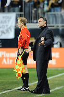 Philadelphia Union manager Peter Nowak. The Los Angeles Galaxy defeated the Philadelphia Union  1-0 during a Major League Soccer (MLS) match at PPL Park in Chester, PA, on October 07, 2010.