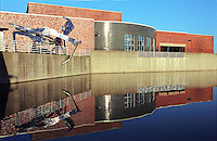 A reflection of the main building at the Palatine Community college in Palatine, IL designed by DLR Group.