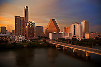 Austin Skyline at Dusk as Bat Watchers gather on the Congress Avenue Bridge