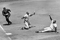 San Francisco Giants Tito Fuentes slides safe into third base against the Phillies. July, 1966 photo by Ron Riesterer)