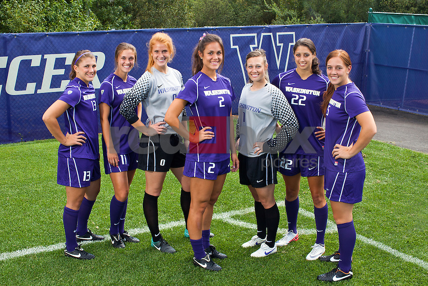 The Washington Huskies women's soccer team photographed at Husky Soccer Stadium Tuesday, Aug. 23, 2011. (Photo by Andy Rogers/Red Box Pictures)