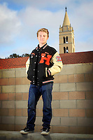 22 April 2013: Bowen Breunig senior photos on campus at Huntington Beach High School in Orange County, CA.