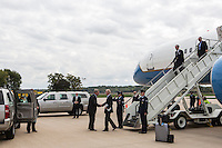 Vice President Joe Biden greets former Iowa governor and current Secretary of Agriculture Tom Vilsack upon arrival for a two-day campaign trip to Iowa on Monday, September 17, 2012 in Moline, IL.