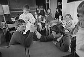Boys arm wrestling, Whitworth Comprehensive School, Whitworth, Lancashire.  1970.