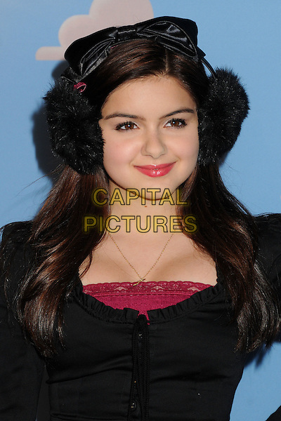 Ariel Winter.Disney•Pixar's Toy Story 3 Disney On Ice held at Nokia Plaza L.A. Live, Los Angeles, California, USA..December 14th, 2011.headshot portrait black dress  earmuffs .CAP/ADM/BP.©Byron Purvis/AdMedia/Capital Pictures.