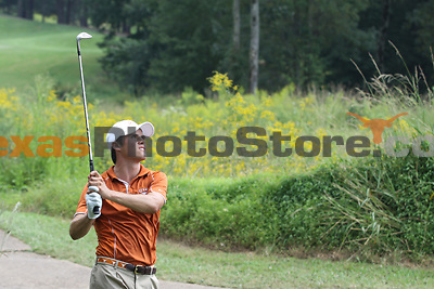 University of Texas freshman Gavin Hall watches his ball after hitting out of the rough during the Carpet Capital Collegiate at The Farm Golf Club in Rocky Face, Ga., on Sunday, Sept. 8. The Longhorns return to The Farm as defending champions after shooting a 13-under 851 in 2012.<br /> <br /> Photo by Patrick Smith