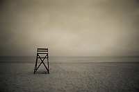 Moody lifeguard stand on beach, Cape Cod, MA
