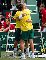 LLEYTON HEWITT (AUS) and CHRIS GUCCIONE (AUS) against ROGER FEDERER (SUI) and STANLINAS WAWRINKA (SUI) in the third rubber. Lleyton Hewitt and Chris Guccione beat Roger Federer and Stanlinas Wawrinka 2-6 6-4 6-2 7-6...Tennis - Davis Cup - World Group - Royal Sydney Golf Club - Sydney - Day 1 - Saturday September 17th 2011..© AMN Images, Barry House, 20-22 Worple Road, London, SW19 4DH, UK..+44 208 947 0100.www.amnimages.photoshelter.com.www.advantagemedianetwork.com.
