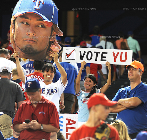Texas Rangers' fans..JULY  1, 2012 - MLB : Fans of  Yu Darvish of the Texas Rangers hold up signs about mlb all star voting during a baseball game against the the Oakland Athletics at Rangers Ballpark in Arlington in Texas, United States..(Photo by AFLO) ..