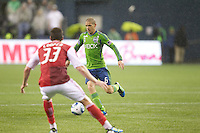 during play between the Seattle Sounders FC and the Portland Timbers at Qwest Field in Seattle Saturday May 14, 2011. The game ended 1-1 draw.