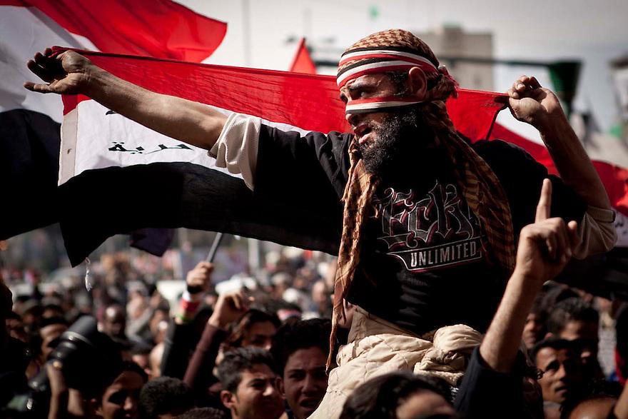 """10/02/2012..Scores of protesters flocked to Tahrir Square Friday to participate in a protest against military rule they are calling the """"Friday of Departure.""""..Des dizaines de manifestants ont afflue à la place Tahrir, vendredi pour participer a une manifestation contre le regime militaire, ils demandent le """"vendredi du depart.""""."""