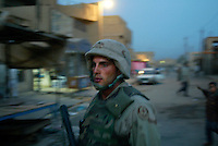 Baghdad, Iraq, June 6, 2003.US soldier on night patrol in Thawra (ex-Saddam City), the most dangerous area of Baghdad..