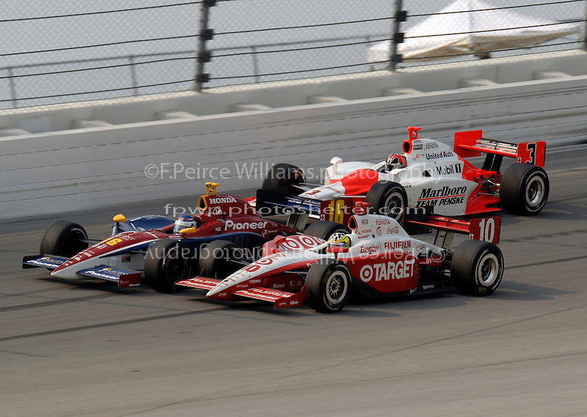 11 September, 2005, Joliet,IL,USA<br /> Danica Patrick (16), Jaques Lazier (10) and Helio Castroneves.<br /> Copyright&copy;F.Peirce Williams 2005