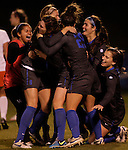 The team celebrates a win over UT-Martin in the first round of the NCAA Soccer Tournament in Lexington, Ky., on, 11 11/9/2012, {year}. Photo by Jared Glover | Staff