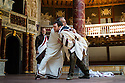 London, UK. 01.07.2014. Shakespeare's Globe presents JULIUS CAESAR by William Shakespeare, directed by Dominic Dromgoole. This picture shows Caesar's assassination, Act 3, scene 1, with: Sam Cox (Caius Ligarius), Patrick Driver (Cinna), Anthony Howell (Cassius), Tom McKay (Burtus), George Irving (Caesar), Christopher Logan (Casca), William Mannering (Mettelus Cimber), Dickon Tyrrell (Decius), Peter Saracen (Publius), Joe Jameson (Trebonius) and Luke Thompson (Antony). Photograph © Jane Hobson.